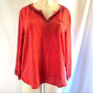 Lucky Brand red long sleeve embroidered top XL